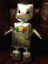 "LARGE 19"" SILVER ROBOT Metallic Plush SIX FLAGS Stuffed Toy"