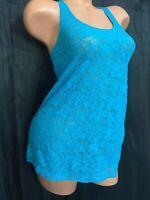 Victorias secret sheer turquoise blue mesh floral lace cami tank vintage NWOT XS