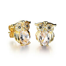 18K Gold Plated Earring  Owl AAA Cubic Zirconia Women's G225