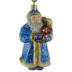 Santa With Teddy Bear Glass Christmas Ornament