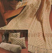 Vintage Knitting Pattern Aran/Cable Afghan/Blanket, Bolster & 2 Cushions.