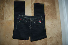 Black Stretch EVISU PUMA Straight Leg Jeans 28