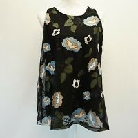 Charter Club Womens Mesh Tank Top Sleeveless Embroidered Floral Shirt Black $89