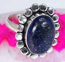Lapis Lazuli & 925 Silver Handmade Unusual Ring Size O & gift-box