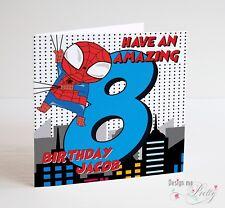 SPIDERMAN SUPERHERO Personalised BOYS Birthday Card - Boys Girls Marvel