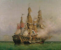 Dream-art Oil painting Warship huge ship Naval battle seascape hand painted art