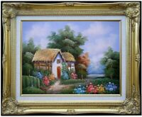 Framed Quality Hand Painted Oil Painting, Cottage Stream Landscape-9, 12x16in