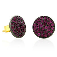 14k Yellow Gold Pave Ruby Stud Earrings 925 Sterling Silver Handmade Jewelry