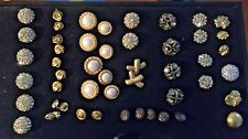 50 + VINTAGE BUTTONS!  FABULOUS ! RHINESTONES, PEARLS FROM HIGH END CLOTHING!