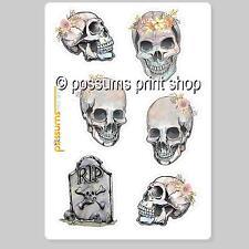 watercolour skull sticker set 5 mini skulls + 1 tombstone vinyl stickers 35mm ea