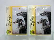 New Greyhound Whippet Dog Bag Tag 2 Luggage / Pet Carrier Tags By Ruth Maystead