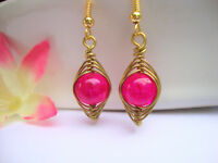 Pink Topaz Glass Earrings Gold Wire Wrapped Herringbone Style USA HANDMADE