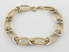 "14k Yellow And White Gold Rolo Link Charm Bracelet 8"" 4.70 grams"