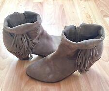 Sam Edelman 10 Tan Putty Suede Fringe Ankle Booties Louie Boots Western Heel