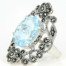 Glacier Topaz Sterling Silver Ring 6.33ct Size 8