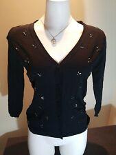 H&M Button Up Black Cardigan Sweater W/ Jewel Accents NWOT Sz S