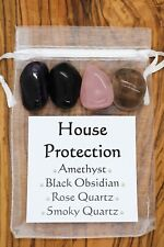 House Protection Crystal Gift Set Amethyst Black Obsidian Rose Smoky Quartz