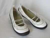 PRIVO By CLARKS Size 9-9.5 White Leather & Fabric Detailed Bungee Ballet Flats