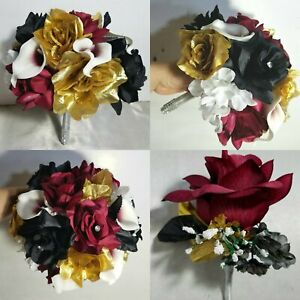 Burgundy Black Gold White Rose Calla Lily Wedding Bouquet & Boutonniere