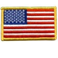 AMERICAN FLAG EMBROIDERED PATCH GOLD BORDER USA US UNITED STATES MILITARY