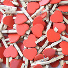 100pcs Wooden Red Heart Mini Clip Wood Pegs Kid Craft Party Favor Supply Gift