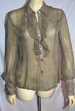 Anna Sui black label amazing long Sleeve silk Blouse cuffs are stunning size 6