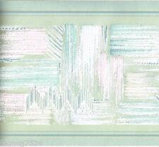 Pastel Green Geometric Abstract Modern Sheen Textured Wall paper Border 33 feet