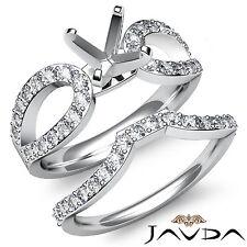 Diamond Engagement Ring Round Bridal Set 14k Gold White Split Curve Shank 0.9Ct