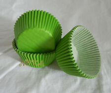 100 green plain cupcake liners baking paper cup muffin case 50x33mm