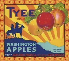 "RARE OLD ORIGINAL 1930'S INDIAN ""TYEE BRAND"" APPLE BOX LABEL SEATTLE WASHINGTON"
