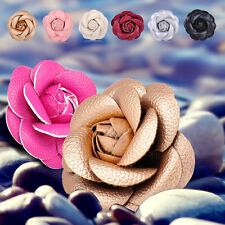 Classic PU Leather Camellia Brooch Vintage Corsage Pin Flower Decoration