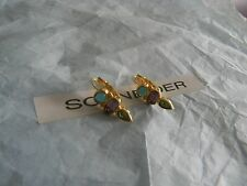 Premier Designs BEJEWELED gold blue green purple crystal earrings RV $24 new