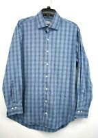 Peter Millar Men Blue Plaid Long Sleeve Button Up Crown Comfort Dress Shirt L