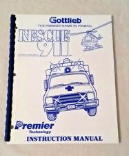 Gottlieb Premier Rescue 911 Pinball Machine Original Manual & Schematics Nos!