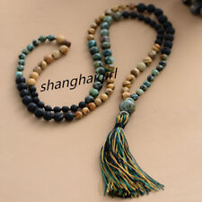108 pcs Mala Natural Stone Lava Beads Long Tassel Necklace Women Meditation Yoga