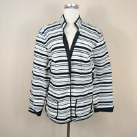 Chico's 3 / XL Quilted Open Front Jacket Black White 100% Cotton