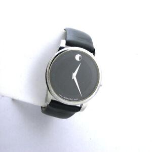Movado Museum Swiss Movement Mens Watch 0606502 Black Leather Band Quartz Analog