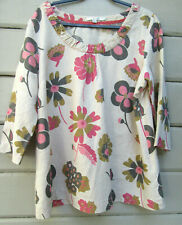 Boden Wms 16 Beige 100% Linen Side Zip Floral Print 3/4 Sleeve Tunic Top Blouse
