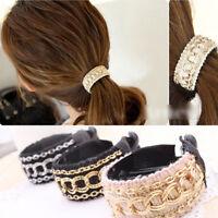 EE_ HK- Women Fashion Chain Fabrics Hair Clip Hair Barrette Ponytail Holder Buck