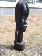 VINTAGE HARDWOOD HAND CARVED WOOD AFRICAN FIGURE WOMAN'S HEAD SCULPTURE