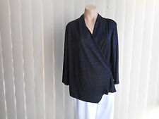 OCCASIONS MILLERS BLOUSE 12 BLACK SPARKLES 3/4 SLEEVE CROSS OVER STYLE H/WASH