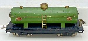 1926 LIONEL PREWAR STANDARD GAUGE TRAINS 215 GREEN OIL TANK CAR WITH BRASS TRIM