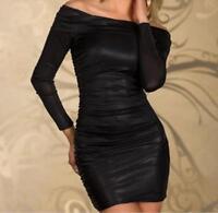 Hot Off Shoulder Long Sleeve Dance Wear Bodycon Party Clubwear Mini Dress MG