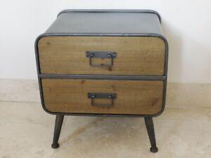 Vintage Industrial bedside 2 drawer urban vintage industrial cabinet