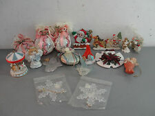 GLASS ORNAMENT HOLIDAY CHRISTMAS GLITTER LACE ANGEL SANTA SNOW FLAKE VTG LOT 14