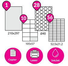 A4 Address Labels Self Adhesive White Sheets Shipping Paper Sticker Laser Inkjet