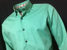 "MANCINI  16 1/2"" Collar Chest Measures 46"" Dark Sea Green Italian Shirt RRP £179"