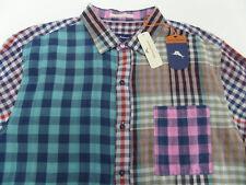 Tommy Bahama Carnival Mixer Plaid Button Shirt Men's XL Tiger's Eye $118
