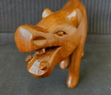 Hand Carved, Cherry Wood Colored, Wood Hippo Figurine