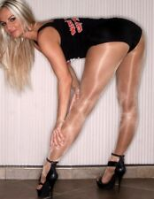 Super Shiny Glossy Shimmer Hooters Style Tights Pantyhose Size Small Toast
